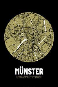 Münster – City Map Design Stadtplan Karte (Grunge)
