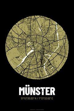 Münster – City Map Design Stadtplan Karte (Grunge) von