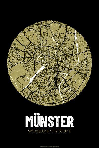 Münster – City Map Design Stadtplan Karte (Grunge) von ViaMapia