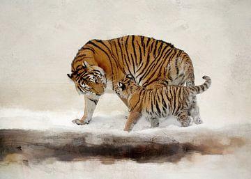 Tiger in abstrakter Winterlandschaft mit Schnee Malerei von Diana van Tankeren