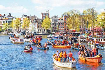 Célébration de la fête des rois sur les canaux à Amsterdam Pays-Bas sur Nisangha Masselink