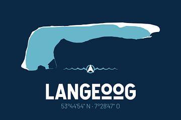 Langeoog | Design-Landkarte | Insel Silhouette von ViaMapia