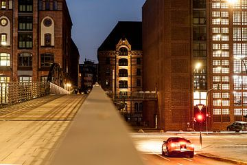 Speicherstadt in Hamburg, Germany, city, urban, city centre, buildings, nighttime, street lights, ca van Ans van Heck