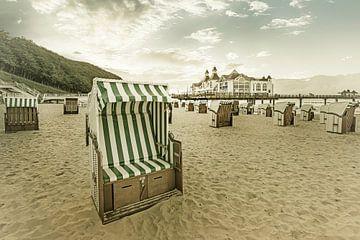 RÜGEN strand in Sellin bij zonsondergang | Vintage van Melanie Viola