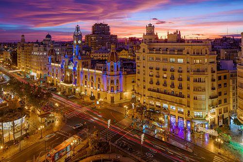 Valencia cityscape vanaf hoogte