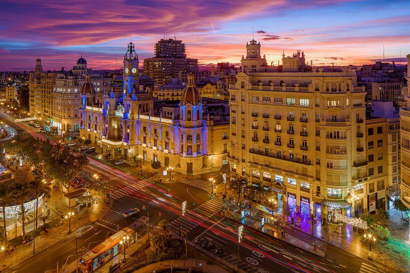 Valencia cityscape vanaf hoogte van Elroy Spelbos