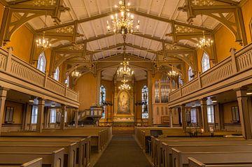 Interieur Domkerk, Tromsø, Noorwegen van Adelheid Smitt