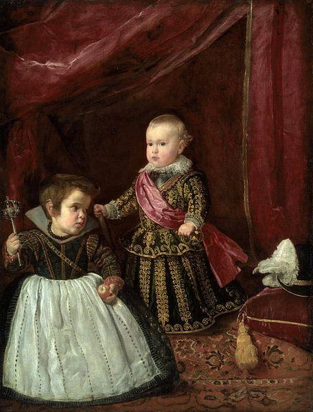 Don Baltasar Carlos mit einem Zwerg, Diego Velázquez von Meesterlijcke Meesters