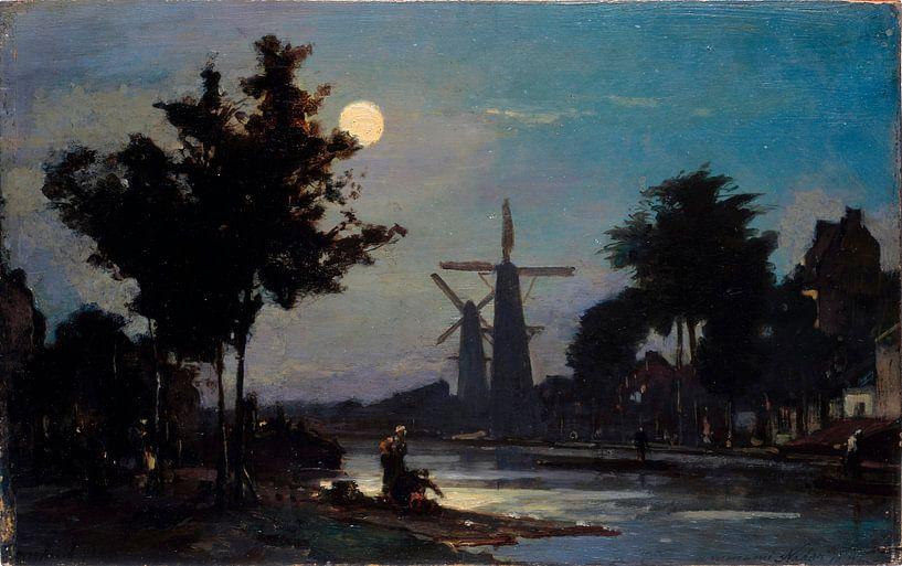 Mondschein auf dem Kanal, Johan Barthold Jongkind von Meesterlijcke Meesters