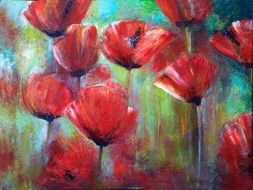 klaprozen ( poppies) schilderij van Els Fonteine