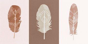 3 Boho Feathers von Marja van den Hurk