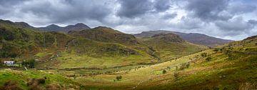 Panorama des Tales zwischen den Hügeln in Wales von Rietje Bulthuis