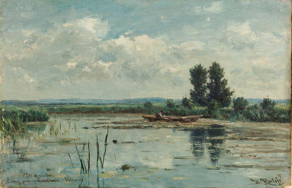 Plas bij Loosdrecht, Willem Roelofs van Hollandse Meesters op canvas ...