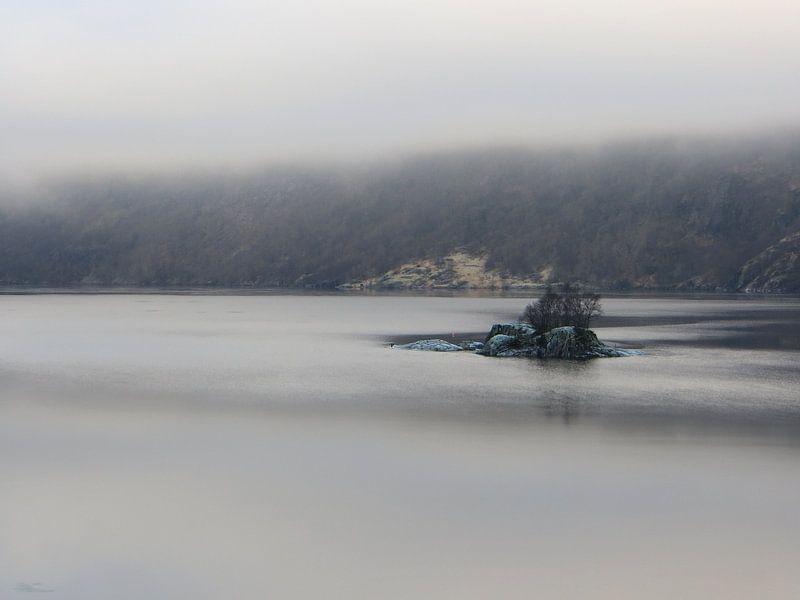 Green Rocks in a foggy Fjord van SuperB Design