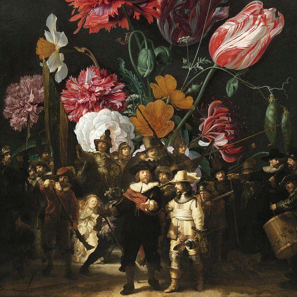 Nachtwächter x Stilleben mit Blumen (2) von Masters Revisited