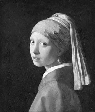 Das Mädchen mit der Perlenohring in schwarz-weiß, Johannes Vermeer von