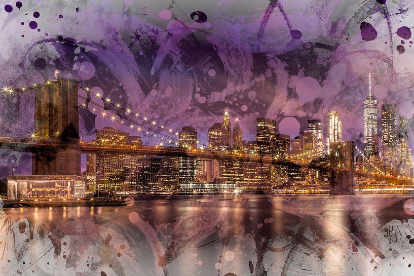 Moderne Kunst, de BROOKLYN BRIDGE, de zonsondergang boven New York City van Melanie Viola
