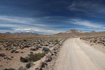 Ungepflasterte Straße über das Altiplano in Bolivien mit den Anden im Hintergrund von A. Hendriks