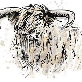 Peinture abstraite à l'aquarelle d'un highlander écossais. Œuvre d'art dans les tons noir, or et gri sur Emiel de Lange