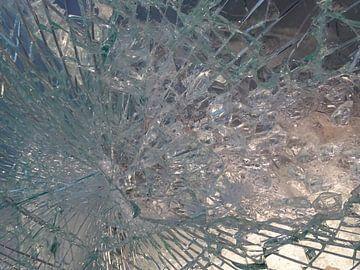 Spinnenweb in glas als een prachtig abstract  beeld                van