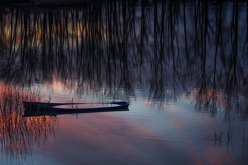 Half gezonken bootje tijdens zonsondergang. van Ron van der Stappen