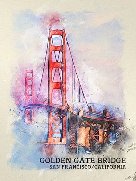Golden Gate Brug van Printed Artings