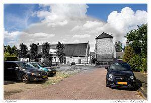 De kerkstraat in Huizen. (oud & nieuw serie)