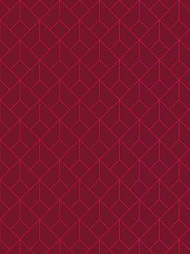 Geometrisch Patroon Print - Rood van MDRN HOME