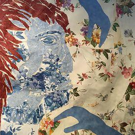 collage gezicht blauw von Ellen Tijmes