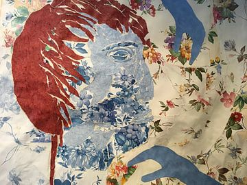 collage gezicht blauw van Ellen Tijmes
