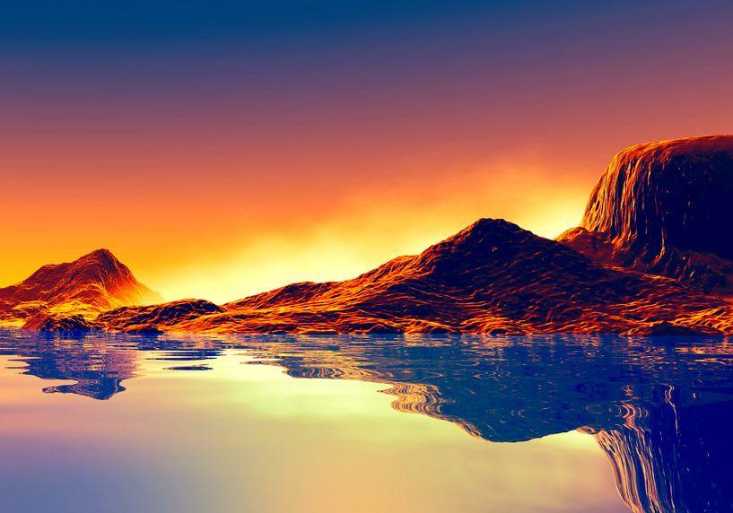 Montagnes au coucher du soleil van Angel Estevez