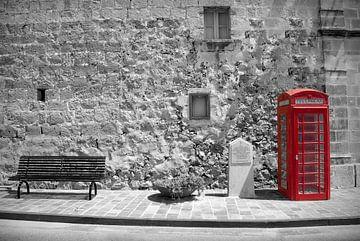 Rode Telefooncel van Rene van Heerdt