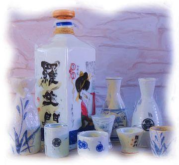 Stilleven Japanse sake flessen en kopjes van Maurice Dawson