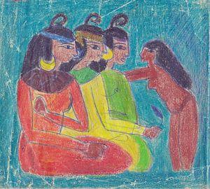 Drei ägyptische Frauen und eine Magd. von Wieland Teixeira