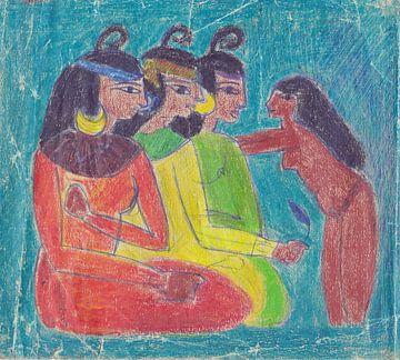 Drie Egyptische vrouwen en een dienstmeisje.