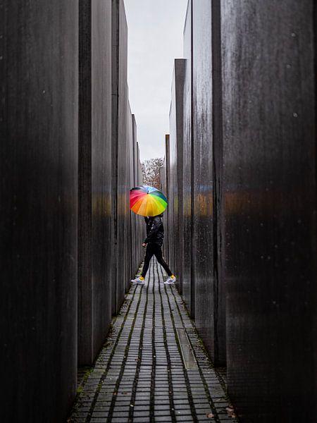 Rainbow umbrella at the Holocaust memorial. van Vincent Bottema