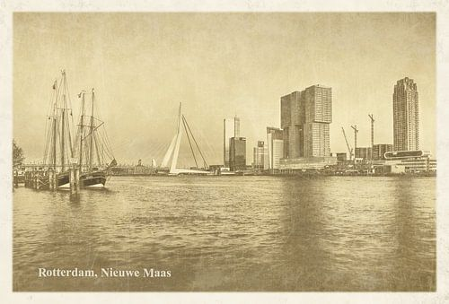 Carte postale d'époque: Rotterdam Nouvelle Meuse