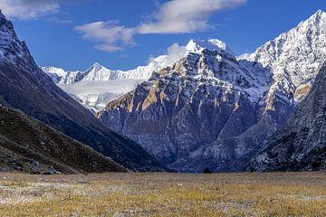Plateau und schneebedeckte Gipfel im Himalaja von Tessa Louwerens