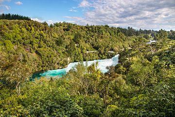 Huka watervallen bij Taupo, Nieuw-Zeeland van Christian Müringer