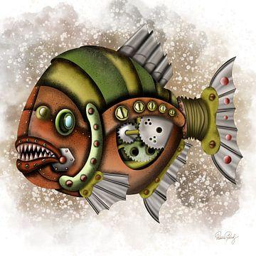 Steampunk Vis Piranha van Patricia Piotrak