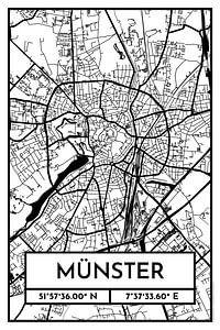 Münster – City Map Design Stadtplan Karte (Retro)