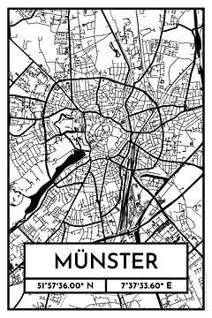 Münster - Stadsplattegrond ontwerp stadsplattegrond (Retro) van ViaMapia