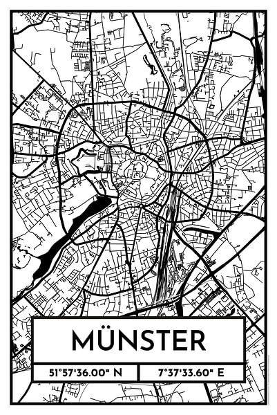 Münster – City Map Design Stadtplan Karte (Retro) von ViaMapia