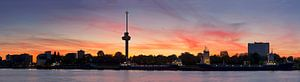 Panorama Euromast Rotterdam vlak na zonsondergang van