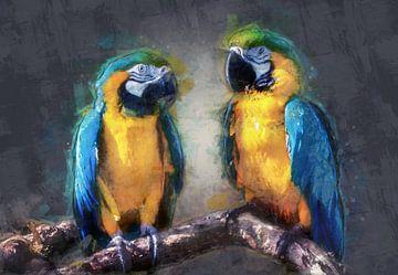 Ölgemälde-Porträt von zwei Papageien von Bert Hooijer