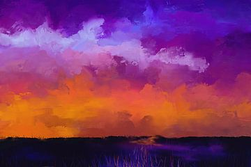 Schilderij van een Landschap met Paarse Wolken