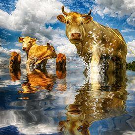 koeien in het water van Egon Zitter