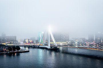 Rotterdam Erasmusbrug in de mist van Leon van der Velden