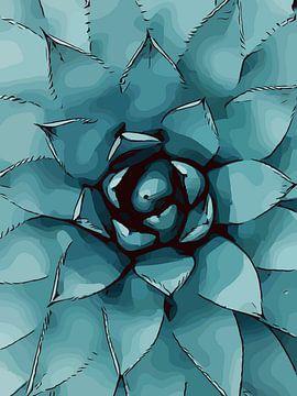 Close-up vetplant - Succulent. van The Art Kroep