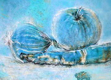 Des ingrédients de cuisine dans une nature morte bleue sur Claudia Gründler